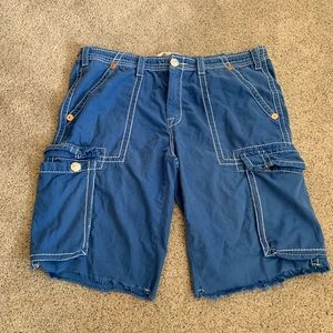 EUC True Religion Blue Cut Off Shorts